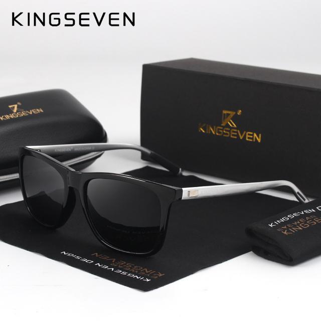 KINGSEVEN New Fashion Brand Designer Aluminum TR90 Sunglasses Polarized Mirror lens Male oculos Sun glasses Eyewear For Men