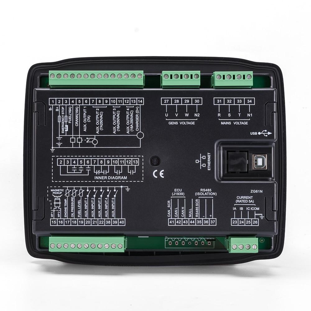 HGM6120N автоматический запуск генератора контроллер AMF бесщеточная электрическая монтажная плата панель ЖК-дисплей дизель часть комплект генераторной установки модуль управления