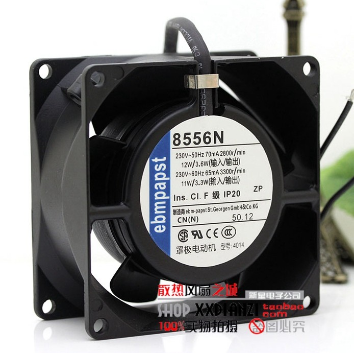 ФОТО Original German EBMPAPST 8038 8cm 230V 8556N all-metal high-temperature cooling fan