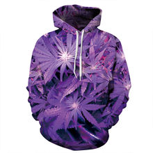 Hip hop style men/women hoodies with cap purple weed 3d print sweatshirt couples
