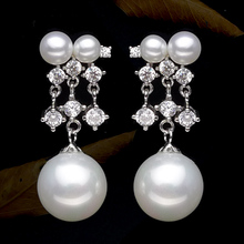 925 silver real natural big 925 sterling silver inlaid zirconia high-quality high-end luxury natural pearl earrings earring