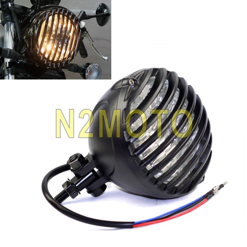 E MARK Vintage Grill Motorcycles Headlight Custom Headlamp Antique Style for Harley Bobber Chopper Cafe Racer