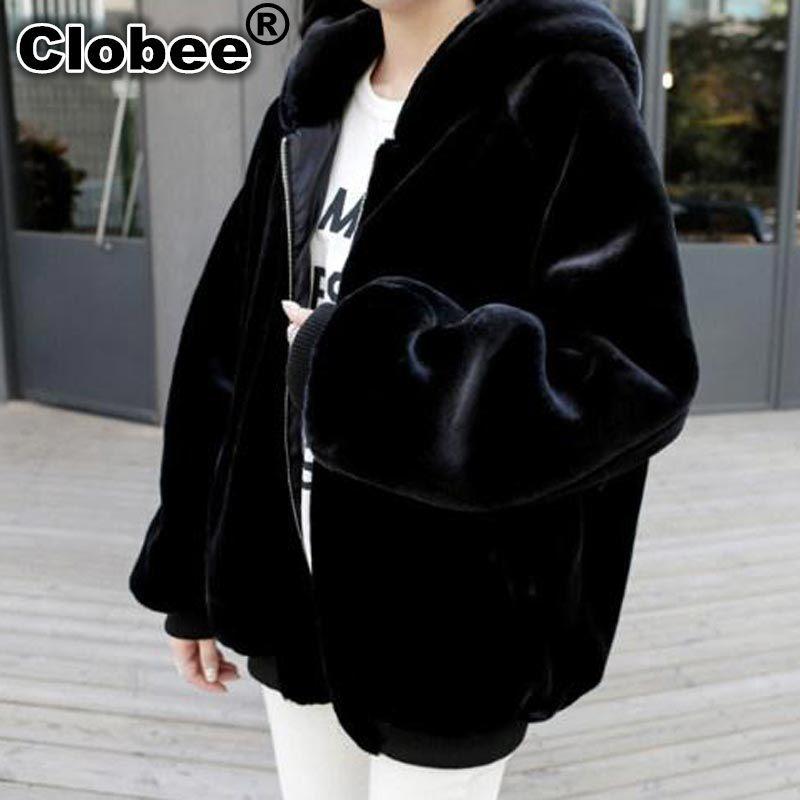 Fausse Pour Plus 2018 5xl Furry La Fourrure Wykh8 Manteaux Femmes Épaisse Les D'hiver À Manteau En Faux 6xl 7xl Taille De Survêtement Noir Longue Capuche rRFAcR