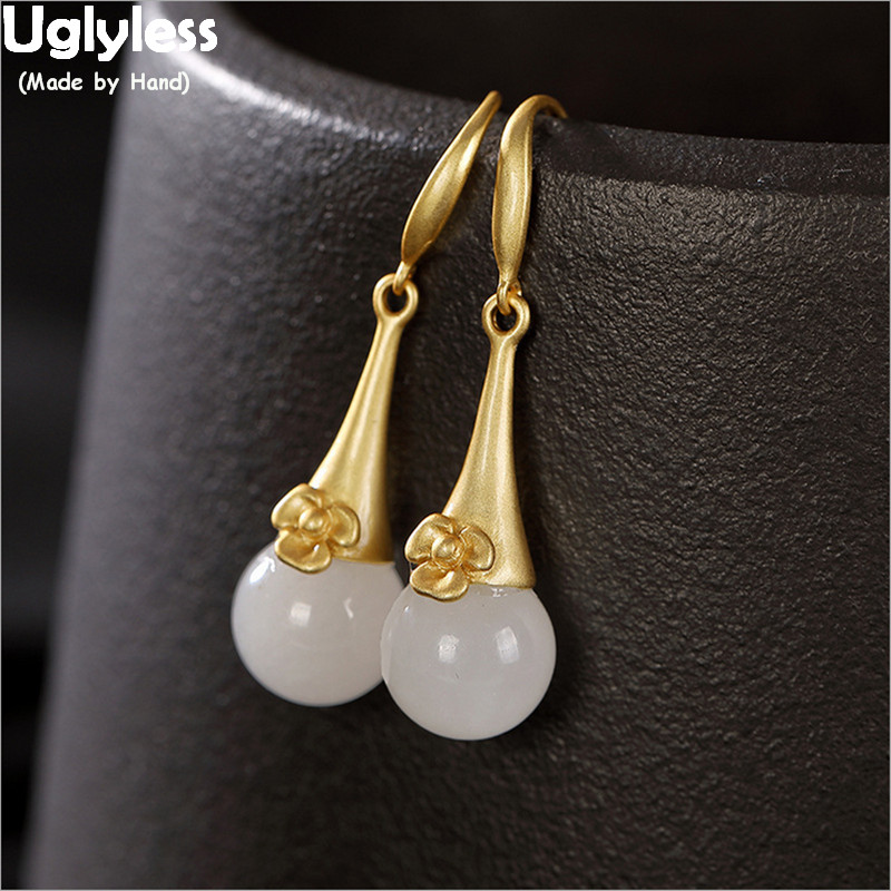 Uglyless Solid 925 Silver Real Gold Earrings for Women Elegant Wedding Dress Dangle Earrings Flowers Natural Jade Balls Brincos