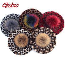 Geebro Womens Leopard Beret Hat with Raccoon Fur Pompom Winter Cashmere Warm French Artist Berets for Femme Ladies Wool Hats