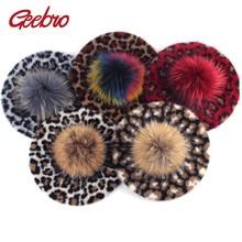 Geebro 女性のヒョウベレー帽子アライグマの毛皮のポンポン冬カシミヤ暖かいフレンチアーティストベレーファム女性ウール帽子