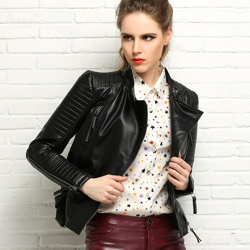 New women's leather jacket bicycle street punk style top quality 2019 spring and autumn fashion short motorcycle jacket Outwear
