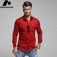 NANSHA New Mens Long Sleeve Classic Basic Pocket Decoration Shirt Cotton Casual Business Work Shirts Fashion Men Clothes XS 3XL