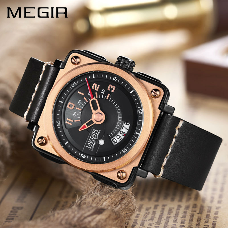 все цены на MEGIR Men Watch Fashion Quartz Watches Clock Men Leather Strap Relogio Masculino Military Watch for Male Reloj Hombre ML2040