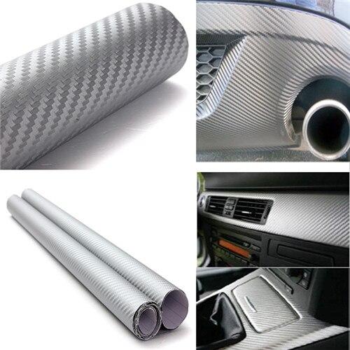 Imperméable à l'eau 127cm x 30cm 3D Fiber de carbone vinyle Film voiture véhicule autocollant feuille rouleau argent or noir livraison gratuite