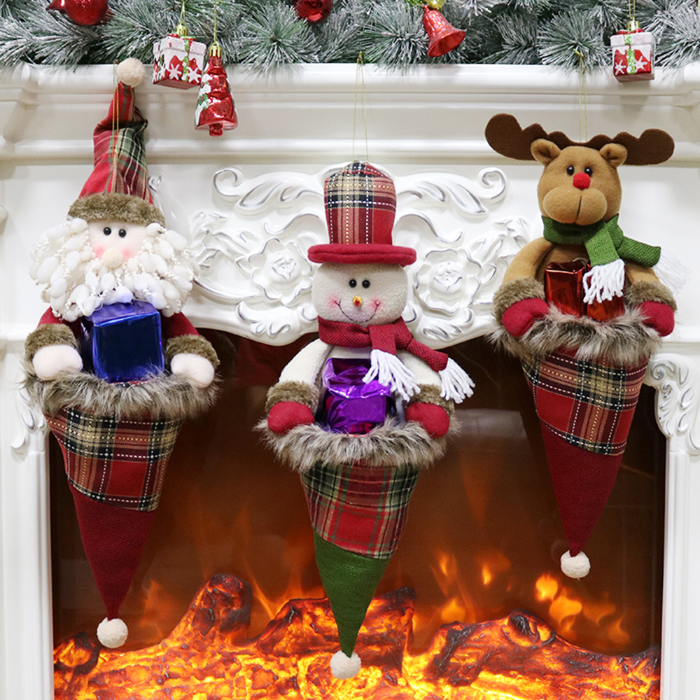 3pcsset Merry Christmas Ornaments Christmas Gift Hanging Bags Santa Snowman Reindeer Gift Candy Bag for Home Enfeites De Natal