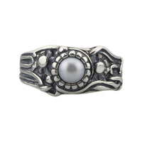 925 Sterling Silver JUGEND Pearl Ring Troll Style Rings Woman DIY Charms Beads Jewelry Inner Size 16mm