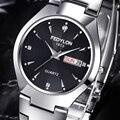 Marca de luxo Relógios Das Mulheres Dos Homens Dos Amantes Duplo Calendário À Prova D' Água As Mulheres Se Vestem Men Casual Aço Inoxidável Relógio de Pulso de Quartzo 0240