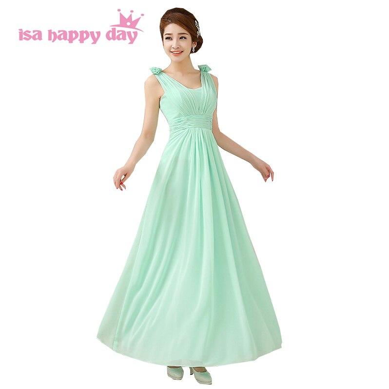 fd2bdea8e684e Kadın a hattı nedime gelinler uzun nane yeşil elbiseler 2019 zarif v boyun  şifon gelinler hizmetçi elbise ile çiçek h1535