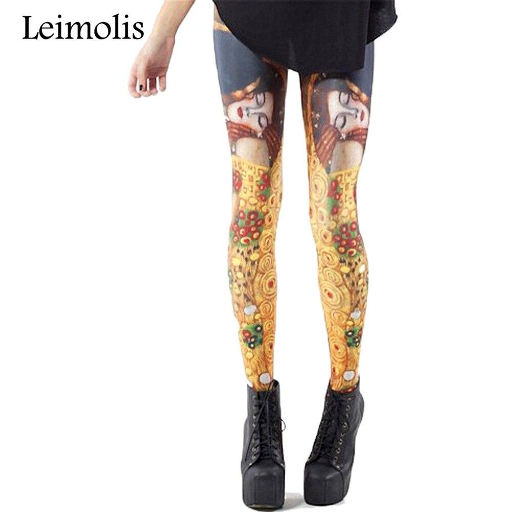 2809e41c3c8769 Leimolis 3D printed fitness push up workout leggings women gothic Egypt  kiss lover plus size High