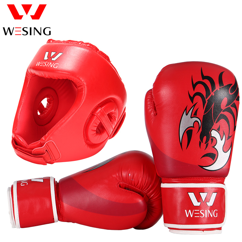 Wesing Boxing Head Guard with Boxing Gloves for Martial Arts Competition Training Protection with Large Size for Sports Amateur suotf adult fitness boxing pear sports punching bag martial arts supplies boxing speed ball punching bag excercise equipment