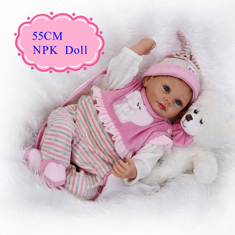 Classic 55cm 22inch NPK Brand Silicone Vinyl Baby With Flannette Made Two -Piece Suit 100% Safe Material Made Reborn Baby DollClassic 55cm 22inch NPK Brand Silicone Vinyl Baby With Flannette Made Two -Piece Suit 100% Safe Material Made Reborn Baby Doll