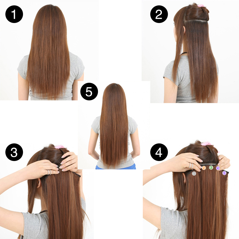 """Image 4 - SARLA 24"""" 60cm 200Pcs/lot Long Straight Clip In Hair Extensions For Women Resistant High Temperature Synthetic Hairpieces 666-in Synthetic Clip-in One Piece from Hair Extensions & Wigs"""