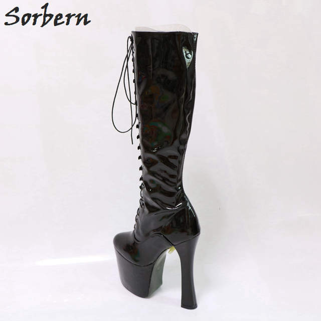 ddaaac96536 Sorbern Black Platform Boots Lace-Up Square Chunky Platform High Heel Round  Toe Plus Size