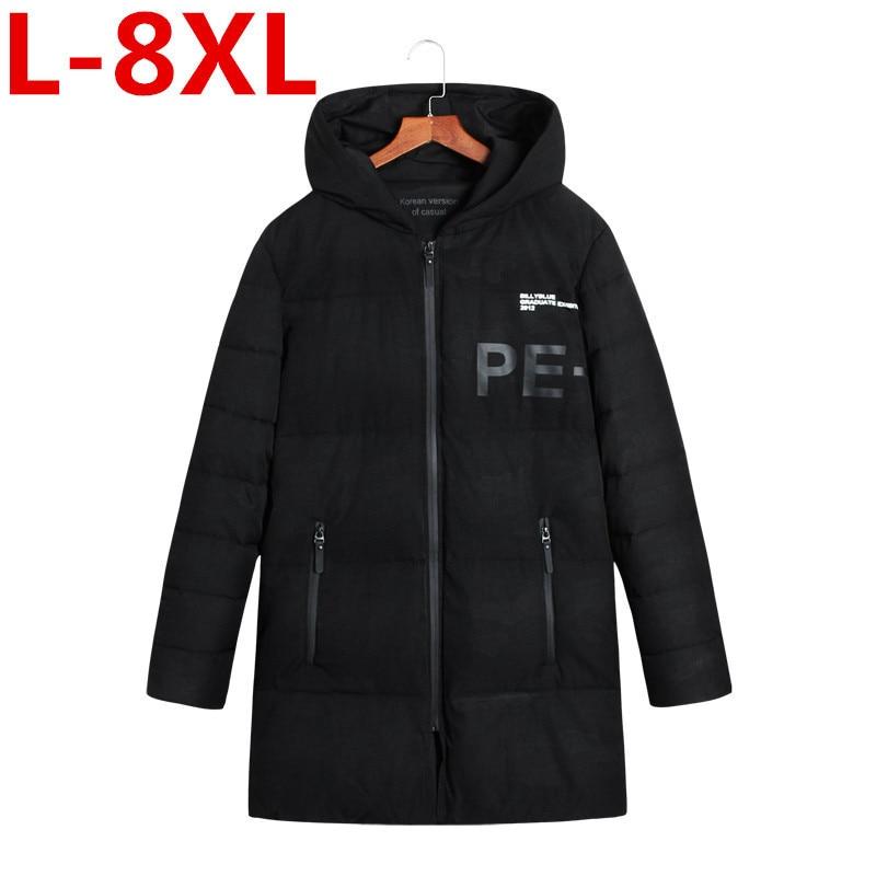где купить 2017 New plus size 8XL 7XL Fashion Winter Jacket Men Hooded Warm Coats Parkas Men Thick Long Solid Zipper Men's Winter Jackets по лучшей цене
