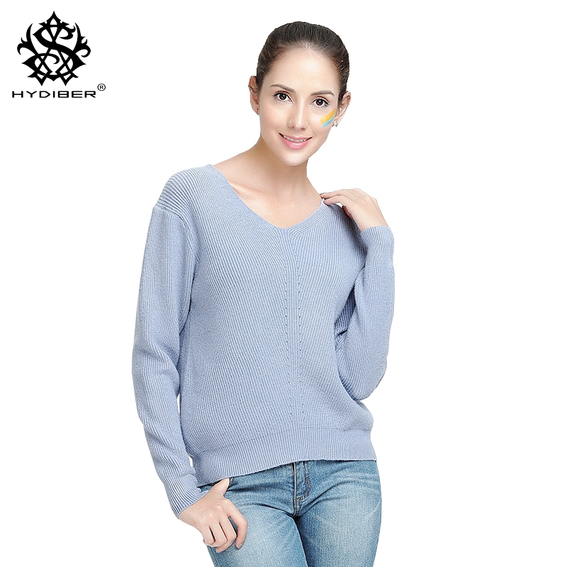 hydiber 2018 New Fashion Long Sleeve Fall Blue V-neck Knitted Women Sweatershirts for Ladies outwear Pullover Female Tops Cloth