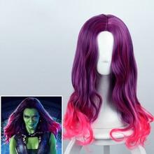 Guardianes de la galaxia de Gamora Cosplay Peluca de 60 cm de largo  ondulado rizado pelo sintético para las mujeres película Ani. 6b19d19016d7
