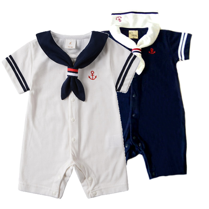 Hot White Navy Sailor collar Newborn baby clothes cotton baby rompers Short sleeve one-pieces jumpsuit baby boy girl clothing 2016 summer short sleeve baby boy sailor suit jumpsuit infant clothing navy newborn baby rompers