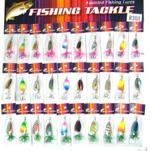 30pcs Metal Wobblers Fishing Lure Baits Spinner Fishing Spoon Assorted Spinner Baits With Feather CrankBait Bass Fishing Lures