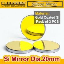 Haute Qualité Si Miroir Dia. 20mm Or-Plaqué pour CO2 Laser Machine De Gravure De Coupe Pack de 3 PCS Livraison Gratuite