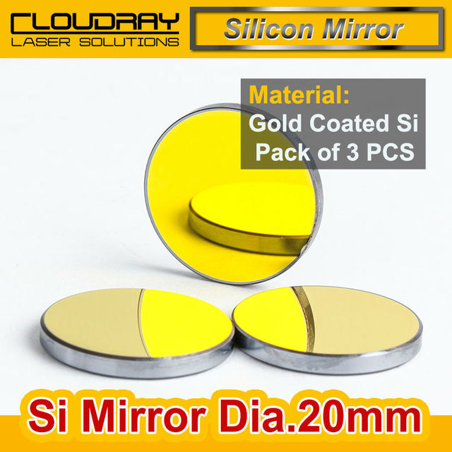 High Quality Si Mirror Dia. 20mm Gold-Plated for CO2 Laser Engraving Cutting Machine Pack of 3PCS Free Shipping
