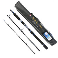 High Carbon Fishing Rods Silver Gray Folding Fishing Pole 2.1M 2.4M 2.7M 3.0M Spinning Fishing Tackle Bag Sea Rod
