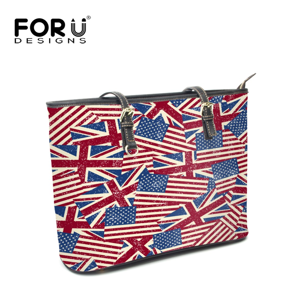 FOURDESIGNS PU Leather Handbags National Flag Print Fashion Women Portable Top-handle Large Shoulder Bags Female Female Blosas fourdesigns women s leather luxury shell handbags fashion national flag print ladies shoulder