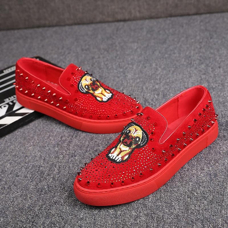 Rebite Sapatos Slip Estilo Mocassins Mens on Sapatilhas Lazer Cão Confortáveis Night Britânico Couro Prom Club Bordado Macio Homem Desgaste TOvOx0qrw