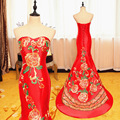 Red Bride Wedding Qipao Long Evening Gown Modern Chinese Traditional Dress Women Cheongsam Vestido oriental Robe Chinoise