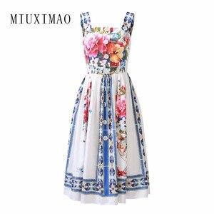 Летнее платье MIUXIMAO 2021, новейшее милое платье на бретелях-спагетти с красочным принтом ВАЗ, элегантное платье до колена, женские платья