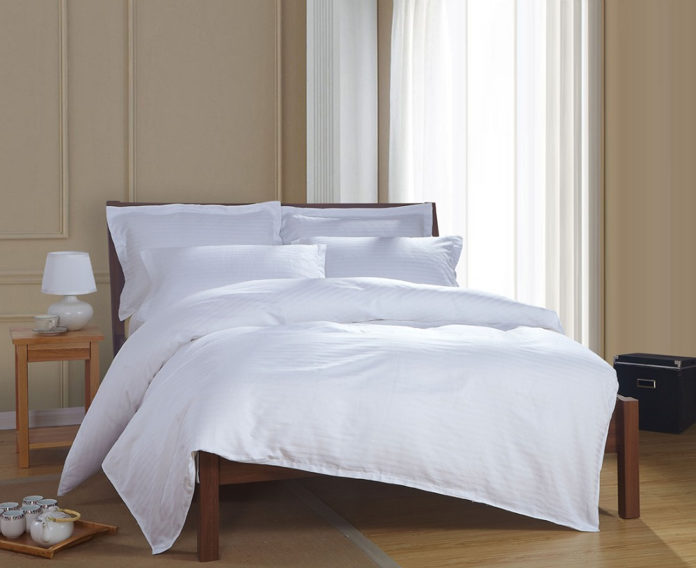 100 Cotton Simple Satin Strip White Hotel Bedding Sets
