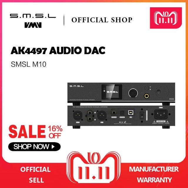 SMSL M10 Full balanced headphone amplifier& DAC AK4497 Chip Support DSD512 PCM768kHz USB Digital Decoder Power Amplifier