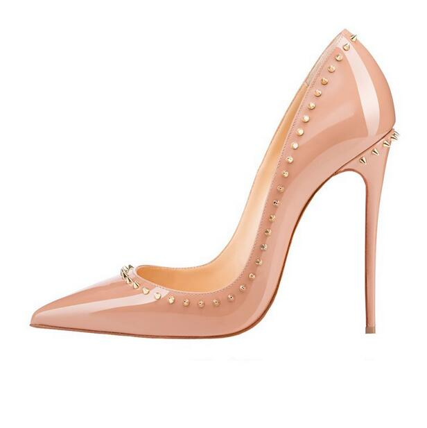 New Designer Women Rivet High Heel Pumps Pointed Toe Nude Patent Leather Dress Shoes Sexy Stiletto Heel Spikes Shoes Big Size brand new summer black pink beige women nude pumps ladies elegant evening shoes stiletto high heel el23 plus big size 32 47 10