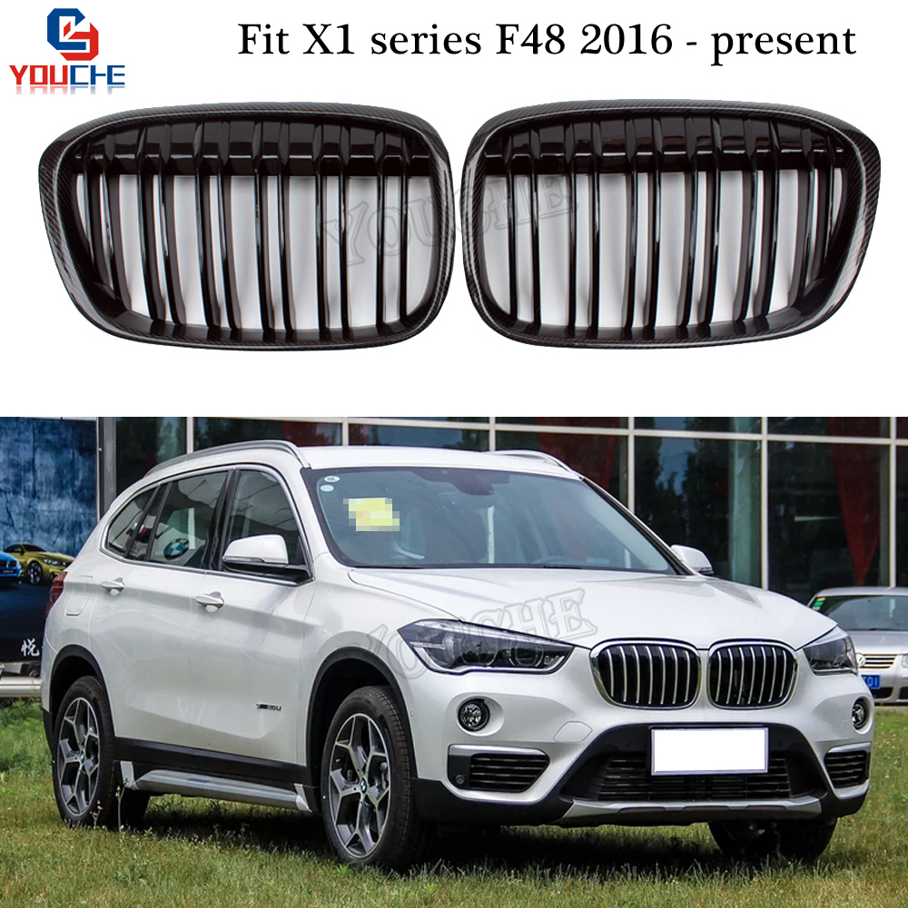 X1 F48 Carbon Fiber Front Kidney Grills Replacement Grille Grid for BMW F48 X1 Series 5