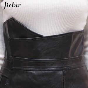 Image 4 - Jielur Mode Slanke Hoge Taille PU Lederen Rok Office Lady Patchwork S XL vrouwen Rok High Street Elegant Schede Zwarte rokken