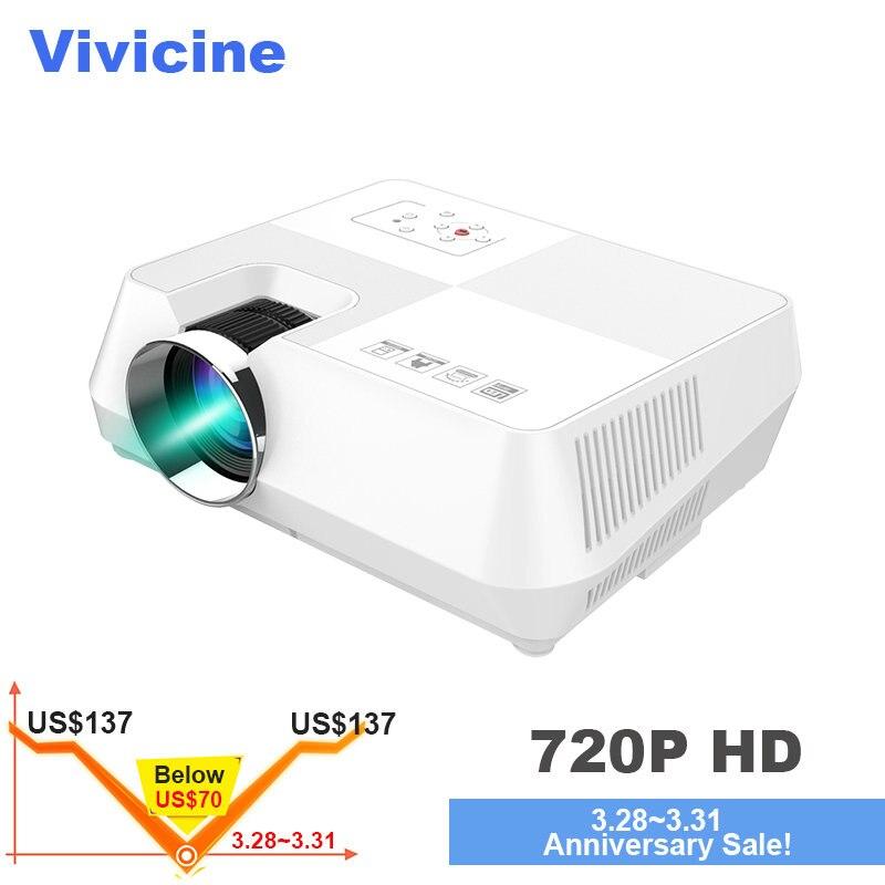 Vivicine Mini projecteur led, Portable vidéo multimédia Projecteur pour le Film Jeux En Option 1280x800 Android WIFI Bluetoot Beamer