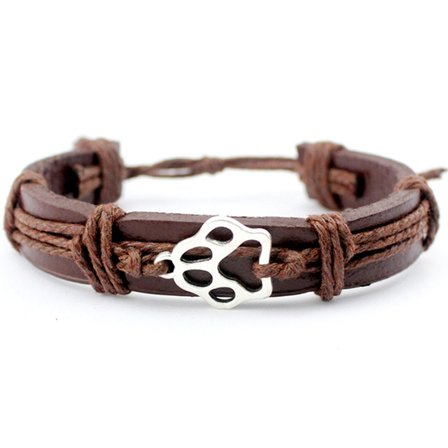 Dog Paw Fish Bone Turtle Tortoise Scissors Shears Skull Eiffel Tower Arrow Animal Charm Leather Bracelets Women Men Jewelry