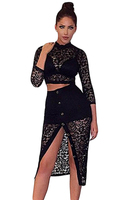 Adogirl Women 2 Pieces Lace Skirt Sets 2016 Autumn Lady Female Black White Sheer Lace Crop