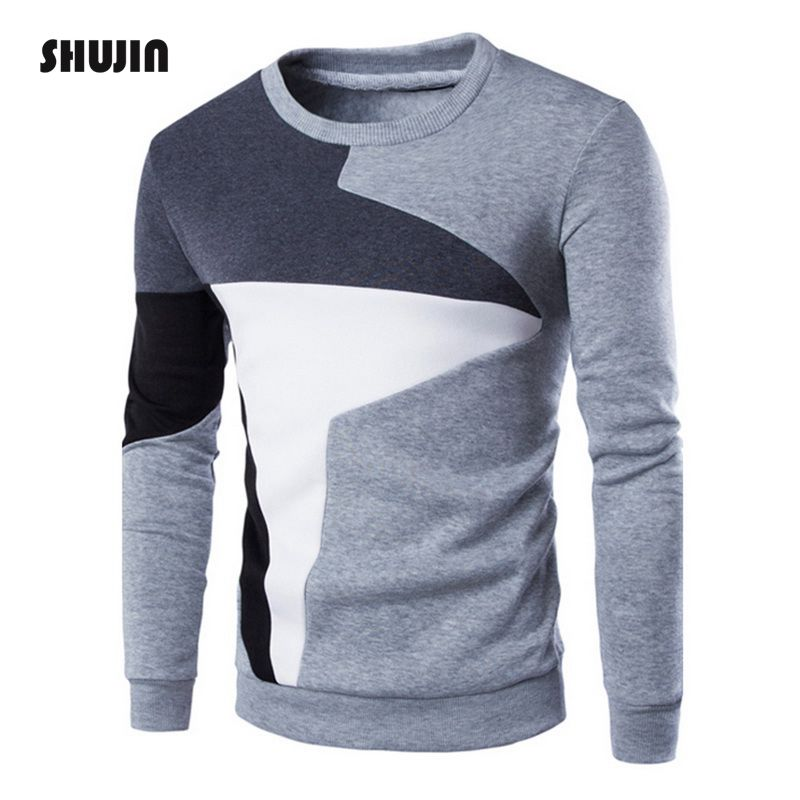 SHUJIN Casual Hoodie Pullover Sweatshirt Long-Sleeve O-Neck Patchwork Men Autumn Winter