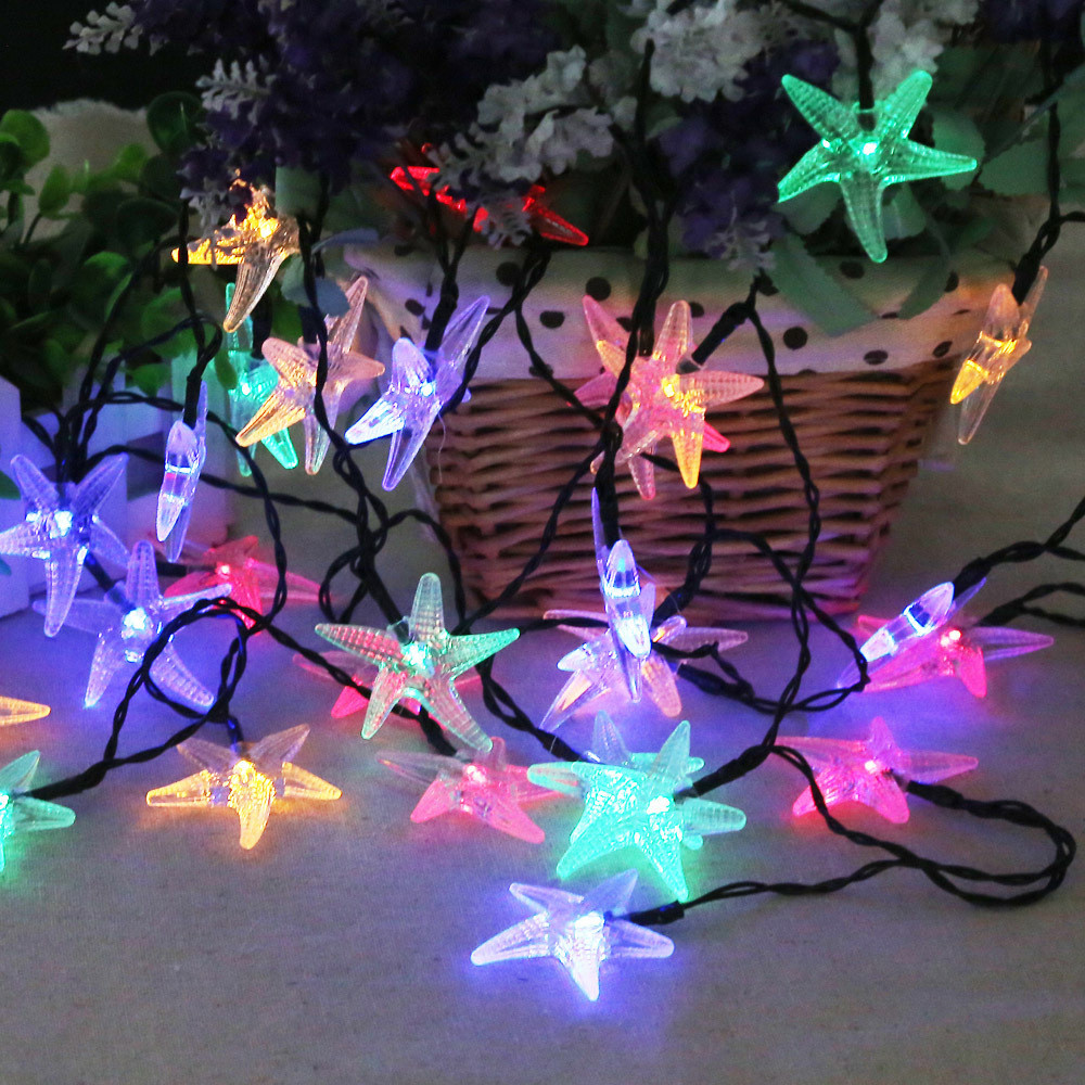 5M 30Leds Starfish Solar Powered Led String Light Waterproof Holiday Lighting Indoor/Outdoor For Garden,Fence,Yard,Street