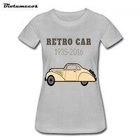 2017 New Brand Women T Shirts Classic Retro Car 1935-2016 Beige Retro Printed T-shirt   WTCC079