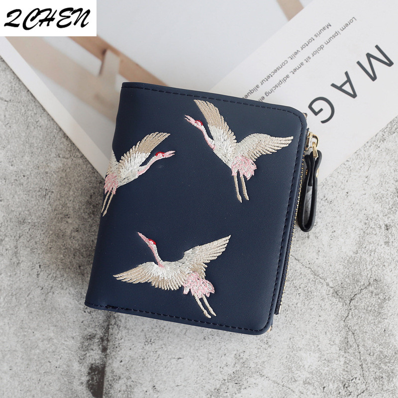 Wallets Women Brand Famous Mini Embroidery Wallets Purses Leather Small Luxury  Female Short Coin Zipper Purse Credit Card 140