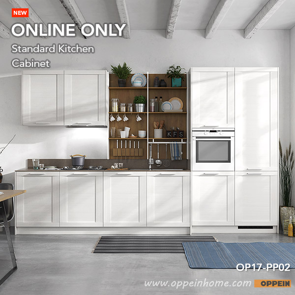 360cm Width Standard Kitchen Cabinet With White Thermofoil Finish  (OP17 PP02)