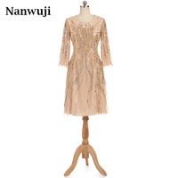 Champagne Formal 2017 Sexy High Neck Noble Women Dresse Muslim Long seleeves Knee length Short Mother of the bride dress