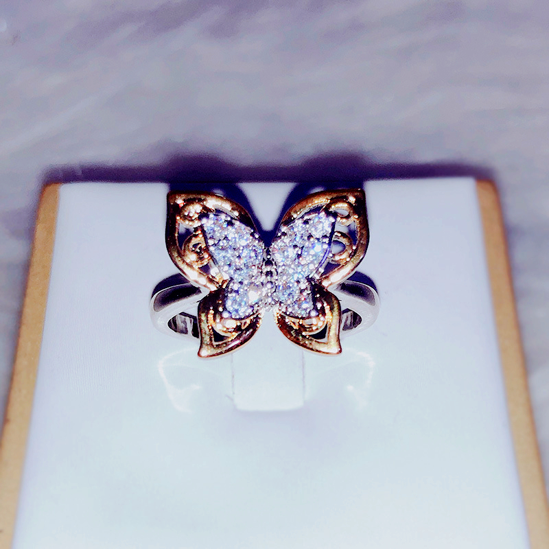 Ring Jewelry Separations Zircon Weddings Women.suitable Fashion Luxury for Enchased Butterfly-Shape